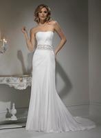 A-Line Sweatheart Court Train Floor-Length Chiffon Wedding Dress With Beading HWGJWD203