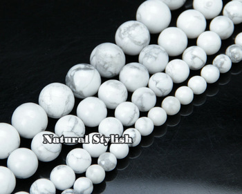 Wholesale 12mm White Round Turquoise Loose Beads(31pcs/Lot) For Jewelry Making, Big Round Beads For DIY