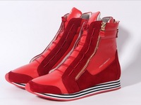 Free shipping 2013 new High-end high quality sports leisure Genuine leather flat short boots for women's shoes