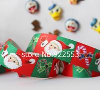 Free shipping 1'' (25mm) Santa Claus gifts printed ribbon Polyester Grosgrain ribbon hair accessories