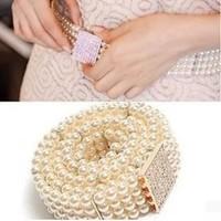 Best Selling!Elegant Full Rhinestone Hasp Pearl Belly Chain Square Diamond Decoration Belt free shipping