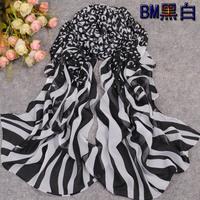 Silk scarf female chiffon scarf summer sun-shading sunscreen cape zebra print leopard print scarf