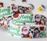 Free shipping 7/8'' (22mm) Merry Christmas Santa Claus snowman gifts printed ribbon Polyester Grosgrain ribbon hair accessories