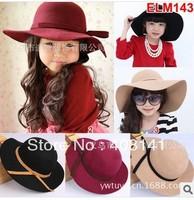 Girls bow ELM143 euramerican style children wool hat