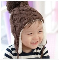 Free shipping.(5pcs/lot) Children baby wool knitted winter warm hats.Plus velvet kids Earflap Caps.5 colors.Christmas gifts.