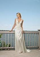 A-Line V-neck Court Train Floor-Length Satin Wedding Dress With Criss-Cross Straps HWGJWD206