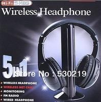 5 in 1 HIFI Wireless headphone Earphone Headset wireless Monitor FM radio for MP4 PC TV audio free shipping