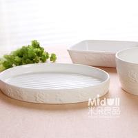 Embossed romantic rose ceramic pan deep dish baking mould oven microwave hob rice bowl cake bread plate