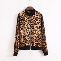 Free shipping new 2013 fashion vintage leopard print women's baseball uniform jacket spring and autumn casual short jacket