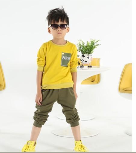 Autumn new boy's suit cuhk child mango yellow long-sleeved cotton fleece sports suits(China (Mainland))