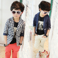 Wooden male children's clothing children autumn 2013 male child plaid suit all-match outerwear