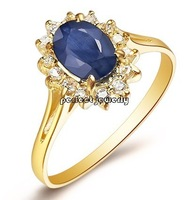 Sapphire ring Natural and real sapphire 18k gold Free shipping Perfect jewerly Wholesale For lady Fine jewelry#13091802