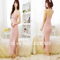 Free Shipping!!! Deep-V Sexy lingerie Set Transparent  Sleepwear Chiffon Long Dress  Babydoll  Extreme temptation