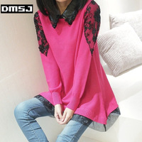 Fur collar lace pullover sweater female loose batwing loose shirt