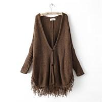Plus size sweater cardigan fashion tassel cloak sweater batwing sleeve loose cashmere sweater outerwear female
