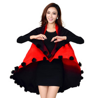 Medium-long loose cardigan mm tassel cloak cape sweater outerwear plus size female