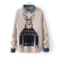 Autumn women's vintage rabbit wool sweater loose color block decoration sweater shirt outerwear basic shirt