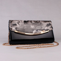 2013 women's day clutch handbag japanned leather mirror surface print oil painting one shoulder dinner clutch bag small bags