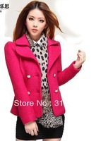 free shippingThe new han edition of brief paragraph woollen coat