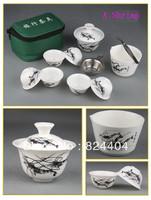 Freeshipping Manufacturer direct wholesale Travel tea set ceramic portable travel kung fu tea set 11pcs tea set  T002