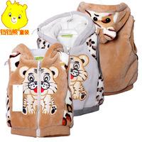 Thicken !!!!!! New 2014 autumn winter kids' boy girl children outwear waistcoat kids tiger fur vest baby clothing