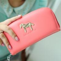 2013 women's wallet long design candy color zipper horizontal day clutch wallet, free shipping