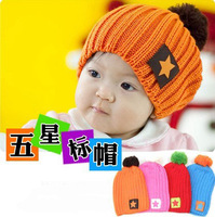 Retail 1pcs ! Free Shipping! 4 Colors! 0-5Y Babys Five-star Cap Kids Knitted Hat Children Ball Skull Cap