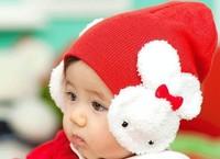 Retail 2pcs/lot ! Free Shipping! 5 Colors Choose ! 0-4Y Babys Rabbit Cap Kids Rabbit Bow Knitted Hat Children Skull Cap