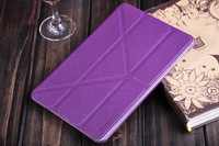 In Stock 1pcs/Lot Fashion Business 8 Fold Stent Leather Flip Cover Case For Apple Ipad mini + Free Shipping,C0065