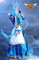 LOL Ashe Cosplay Costumes Cos Clothes Long Blue Cosplay Skirt  Customized Clothes