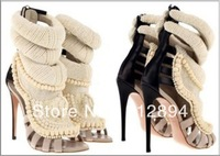 Newest Kardashian style string beads Peeptoe Cut outs high heel Sandals, Elegant Wedding Sandal Shoes Woman