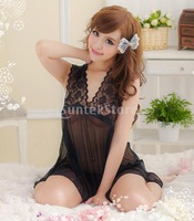Free Shipping Sexy Women Intimate Apparel Lace Sheer Lingerie Sleepwear 2-Piece Set - Black