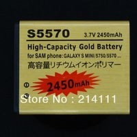 Freeshipping 2450mAh High Capacity Gold Business Battery for Samsung Galaxy S Mini / S5570 / S5750 / S7230