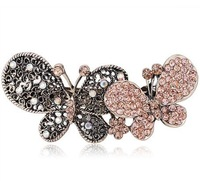 1 Piece Free Shipping Vintage rhinestone crystal butterfly hair barrette hair accessory F090