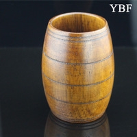 Drum shape mug natural color Health Elegant Anti-hot Wooden Tanoak Mugs wholesale Drinkware for gift