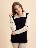 Autumn Pure color Knit Sweater women's Pullover Crochet Sweater Casual  Tops Knitted Jumper