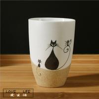 Free Shipping Cartoon cat ceramic cups mug milk cup handmade cup