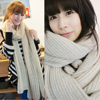 FREE SHIPPING BIG SIZE Thick yarn scarf women's solid color ultra  long autumn and winter thermal lovers scarf  200 40cm