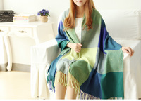 FREE SHIPPING  BIG SIZE  Ultra long plaid thickening cape scarf cape scarf dual 210 65cm