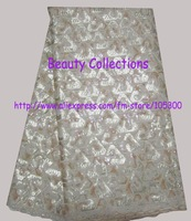 FREE SHIPPING!!!! Double organza with full sequins with stones nice fashion design beige color 5 yards  design number BCL01054