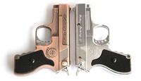 silver retail pistol gun torch lighter with red laser beam