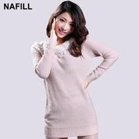 Long-sleeve pullover knitted wool skirt autumn dress winter one-piece dress belt collar basic shirt