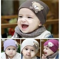 Cartoon bear baby pocket hat bow decoration baby turban child hat