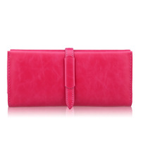 Strap hasp type long design wallet vintage leather wallet women's clutch bag rose small bags