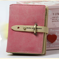 Pink vintage female short design wallet mini wallet scrub hasp type small wallet