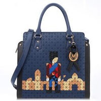 Women's bag vintage cartoon graphic patterns shoulder bag casual bag fashion blue medium bag