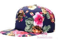 Fashionable rose print hats for women and men personality baseball caps hip hop casual adjustable flat hat red blue