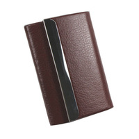 Fashion Pu leather Stainless Steel Leather Woman Man Business Name Credit ID Card Holder Box