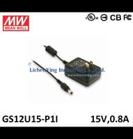 MeanWell 12W 15V 0.8A Single Output Wall mounted type Green Adaptors GS12U15-P1I 2 pole USA plug Adapters UL CB certificated