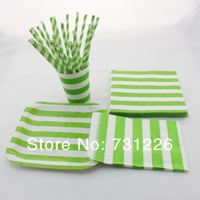 1880pcs GREEN Striped Dinnerware Set Paper Plates Cups Napkins Bags Paper Straws for Christmad Party Baby Shower Free Shipping
